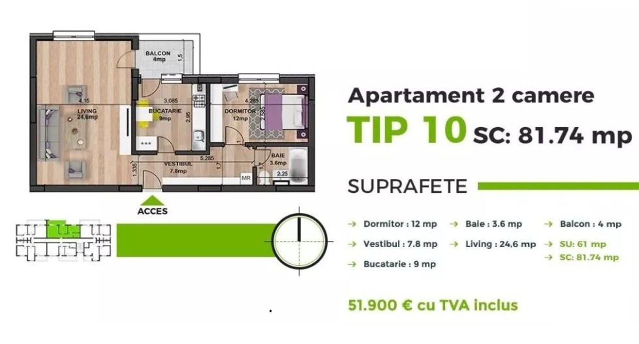 Super Oferta!!! Apartament 2 camere, Militari Residence