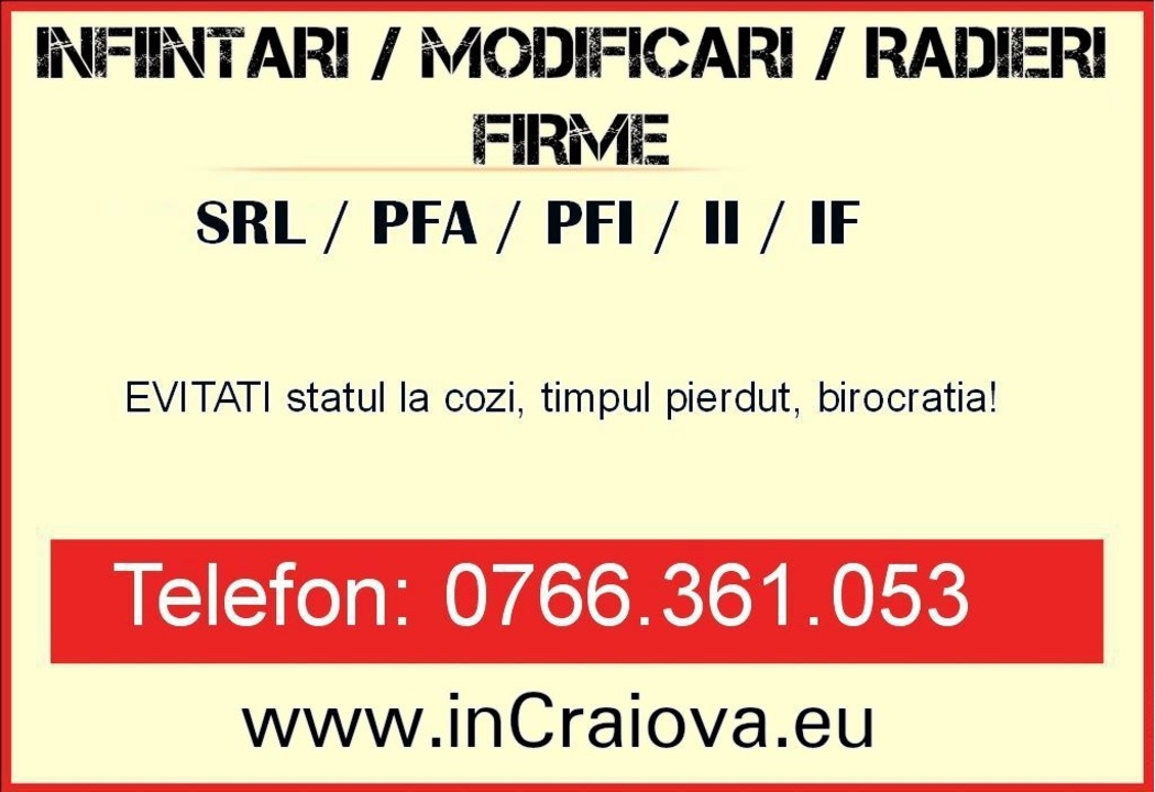 JURISTI: Infiintare Firma Urgent: Infiintare Firme SRL, PFA