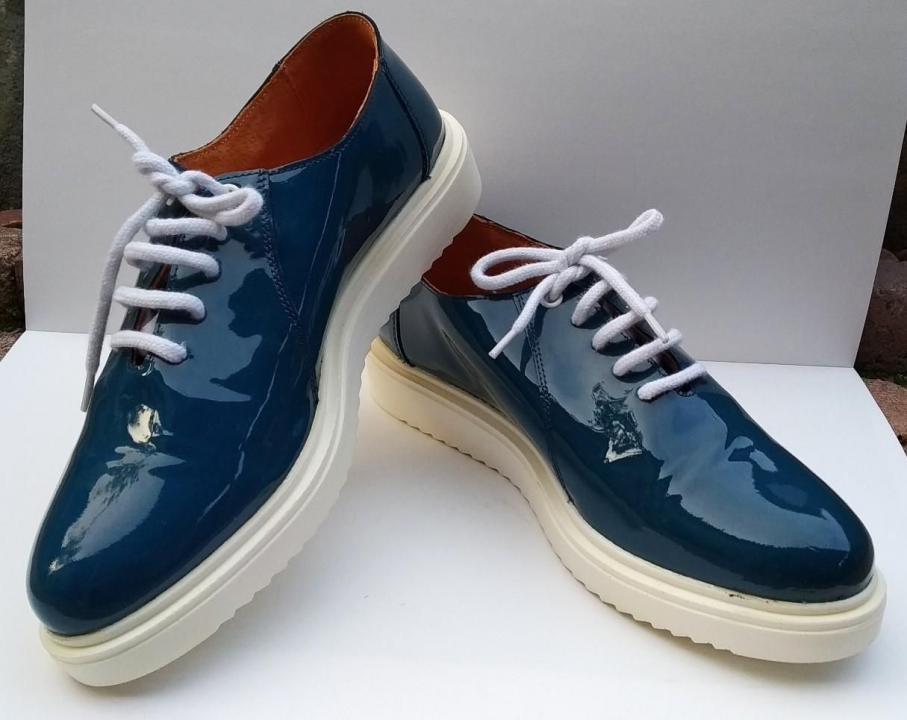 Pantofi piele lacuita albastri