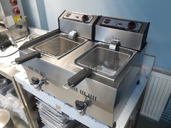 Friteuza inox electrica 13+13 Litri de banc cu robineti