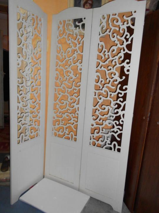 Paravan lemn masiv alb cu motive decorative 3 panouri