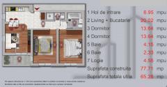 Apartament 3 camere,  demisol ,70mp , pe srada Sperantei ,lnga padurea Rosu