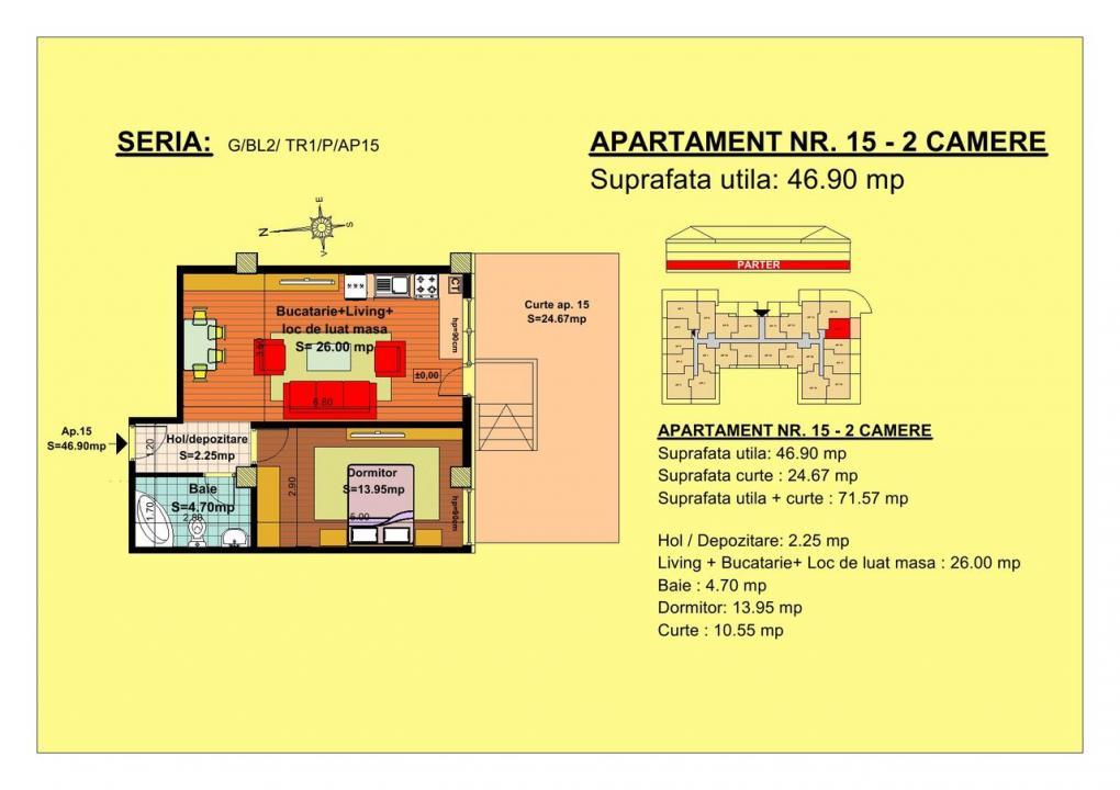 Vand apartament 2 camere zona Tractorul