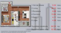 Apartament cu 2 camere , str.Sperantei ,langa padurea Rosu