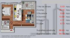 Apartament cu 2 camere 57mp Str.Sperantei , langa Lacul Morii .