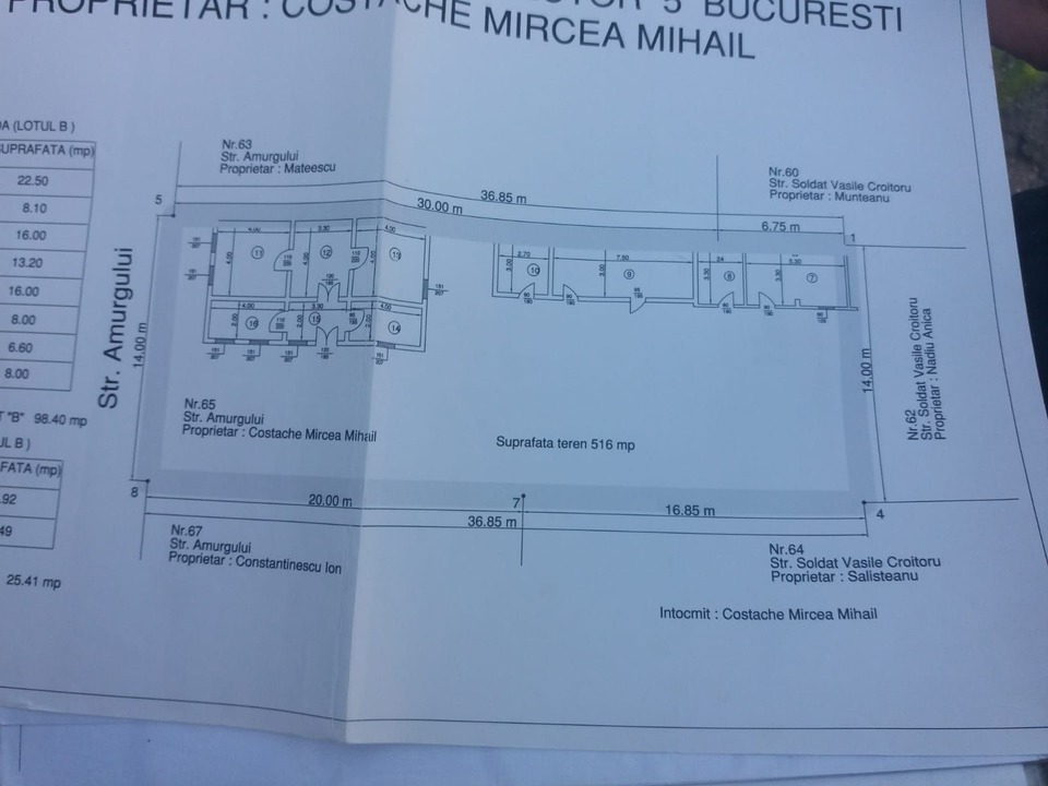 Amurgului stradal Rahova vindem 6 camere DEMOLABILE si teren 520 mp