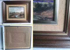 Tablou vechi peisaj 32 x 27 cm.
