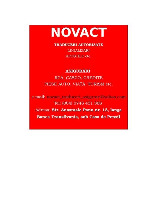 NOVACT - Traduceri si asigurari