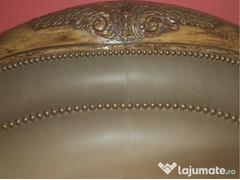 Vand pat lemn bambus masiv & piele de sarpe original made usa cu noptiere si devan