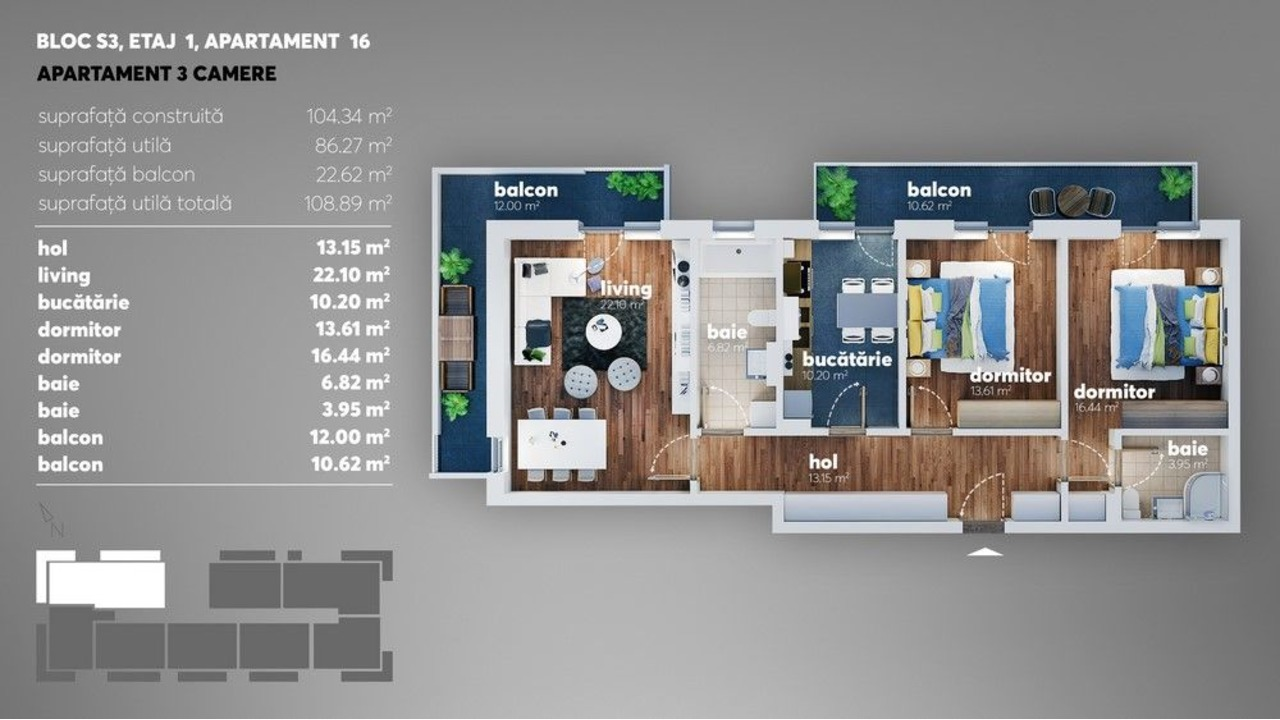 Apartament 3 camere metrou Dimitrie Leonida