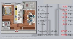 Apartament 2 camere, 57 mpu, Chiajna, Lacul Morii